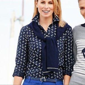 TALBOTS Size 6P Anchor button down cotton shirt